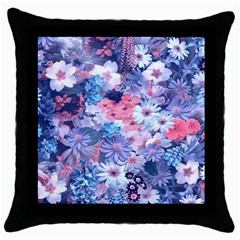 Spring Flowers Blue Black Throw Pillow Case by ImpressiveMoments