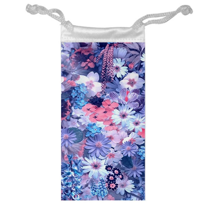 Spring Flowers Blue Jewelry Bag