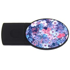 Spring Flowers Blue 4gb Usb Flash Drive (oval)