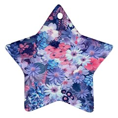 Spring Flowers Blue Star Ornament (two Sides)