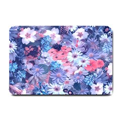 Spring Flowers Blue Small Door Mat by ImpressiveMoments