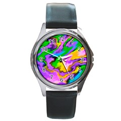 Crazy Effects  Round Leather Watch (silver Rim) by ImpressiveMoments