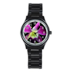 Pink Orchid Sport Metal Watch (black) by WonderfulDreamPicture