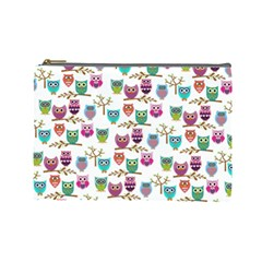 Happy Owls Cosmetic Bag (large) by Ancello