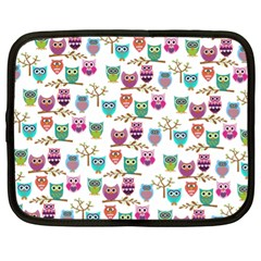 Happy Owls Netbook Sleeve (xl) by Ancello