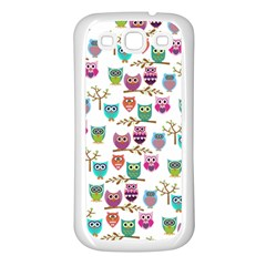 Happy Owls Samsung Galaxy S3 Back Case (white) by Ancello