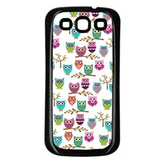 Happy Owls Samsung Galaxy S3 Back Case (black) by Ancello