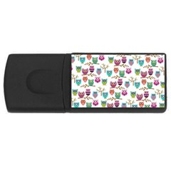 Happy Owls 4gb Usb Flash Drive (rectangle) by Ancello