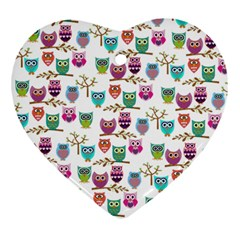 Happy Owls Heart Ornament (two Sides) by Ancello