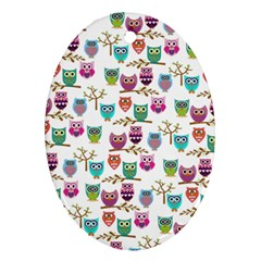 Happy Owls Oval Ornament by Ancello