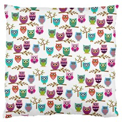 Happy Owls Large Cushion Case (two Sided)