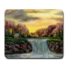 Brentons Waterfall - Ave Hurley - Artrave - Large Mouse Pad (rectangle)