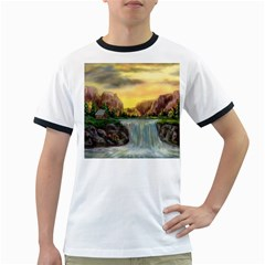 Brentons Waterfall   Ave Hurley   Artrave   Mens' Ringer T Shirt by ArtRave2