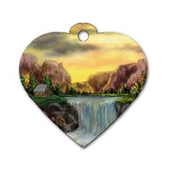 Brentons Waterfall   Ave Hurley   Artrave   Dog Tag Heart (two Sided) by ArtRave2