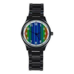 Strips Sport Metal Watch (black) by Siebenhuehner