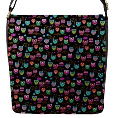 Happy Owls Flap Closure Messenger Bag (small) by Ancello