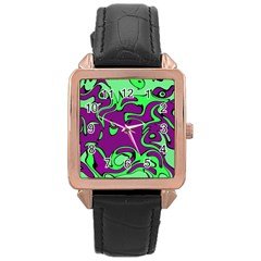 Abstract Rose Gold Leather Watch  by Siebenhuehner