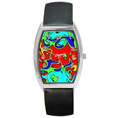 Abstract Tonneau Leather Watch by Siebenhuehner