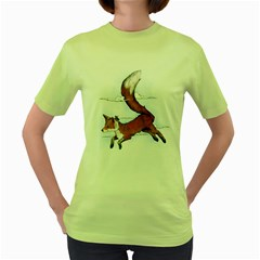 Riding The Great Red Fox Womens  T-shirt (green) by Contest1807839