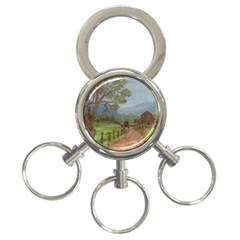 amish Buggy Going Home  By Ave Hurley Of Artrevu   3 Ring Key Chain