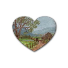 amish Buggy Going Home  By Ave Hurley Of Artrevu   Rubber Coaster (heart) by ArtRave2
