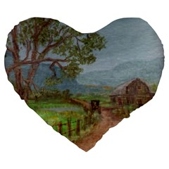 amish Buggy Going Home  By Ave Hurley Of Artrevu   Large 19  Premium Heart Shape Cushion by ArtRave2