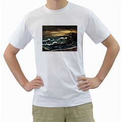 bridget s Lighthouse   By Ave Hurley Of Artrevu   Men s T Shirt (white) (two Sided) by ArtRave2