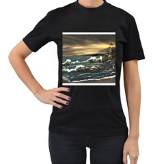 bridget s Lighthouse   By Ave Hurley Of Artrevu   Women s T Shirt (black) (two Sided) by ArtRave2