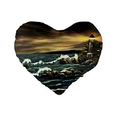 bridget s Lighthouse   By Ave Hurley Of Artrevu   Standard 16  Premium Heart Shape Cushion  by ArtRave2