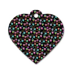 Happy Owls Dog Tag Heart (two Sided) by Ancello
