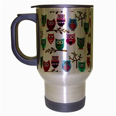 Happy Owls Travel Mug (silver Gray) by Ancello