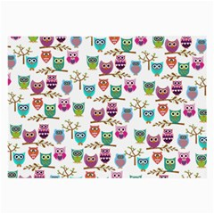 Happy Owls Glasses Cloth (large, Two Sided) by Ancello