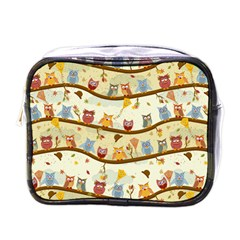 Autumn Owls Mini Travel Toiletry Bag (one Side) by Ancello
