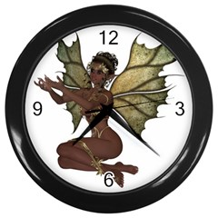 Faerie Nymph Fairy With Outreaching Hands Wall Clock (black) by goldenjackal