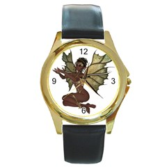 Faerie Nymph Fairy With Outreaching Hands Round Leather Watch (gold Rim)  by goldenjackal