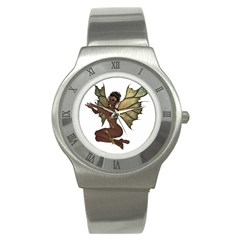Faerie Nymph Fairy With Outreaching Hands Stainless Steel Watch (slim) by goldenjackal