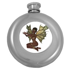 Faerie Nymph Fairy With Outreaching Hands Hip Flask (round) by goldenjackal