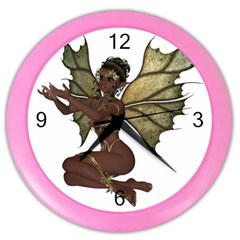 Faerie Nymph Fairy With Outreaching Hands Wall Clock (color) by goldenjackal