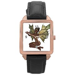 Faerie Nymph Fairy With Outreaching Hands Rose Gold Leather Watch  by goldenjackal