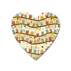 Autumn Owls Magnet (heart) by Ancello