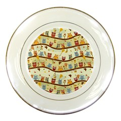 Autumn Owls Porcelain Display Plate