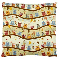Autumn Owls Large Cushion Case (single Sided)  by Ancello