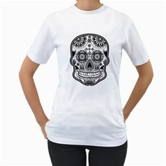 Sugar Skull Women s T Shirt (white) (two Sided) by Ancello