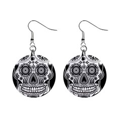 Sugar Skull 1  Button Earrings by Ancello