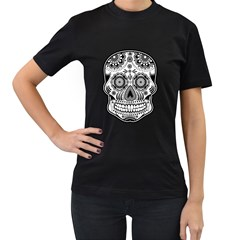 Sugar Skull Women s T Shirt (black) (two Sided) by Ancello
