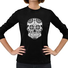 Sugar Skull Women s Long Sleeve Dark T-shirt by Ancello