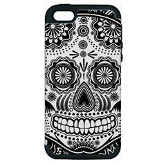 Sugar Skull Apple Iphone 5 Hardshell Case (pc+silicone) by Ancello
