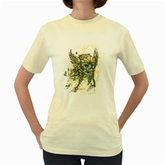 Pirate Skull  Womens  T Shirt (yellow)