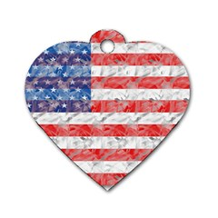 Flag Dog Tag Heart (one Sided)