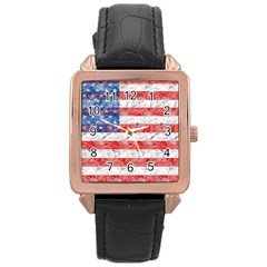Flag Rose Gold Leather Watch